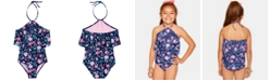 Summer Crush Big Girls 1-Pc. Floral-Print Flounce Swimsuit