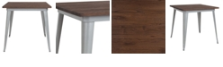 """Flash Furniture 31.5"""" Square Silver Metal Indoor Table With Walnut Rustic Wood Top"""
