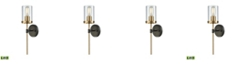 ELK Lighting North Haven 1 Light Wall Sconce in Oil Rubbed Bronze with Satin Brass Accents and Clear Glass