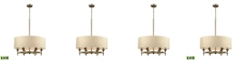 ELK Lighting Pembroke 6 Light Chandelier in Brushed Antique Brass with A Light Tan Fabric Shade