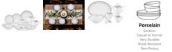 Lorren Home Trends Alina Silver 57-PC Dinnerware Set, Service for 8