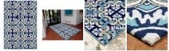 """Liora Manne' Ravella 2253 Floral Tile Blue 5' x 7'6"""" Indoor/Outdoor Area Rug"""