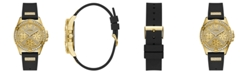 GUESS Black Silicone Glitz Watch 40MM, Created for Macy's