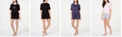 Jenni by Jennifer Moore Core Short-Sleeve Top & Pajama Shorts Sleep Separates, Created for Macy's