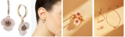 lonna & lilly Gold-Tone Imitation Mother-of-Pearl Flower Drop Off Small Hoop Earrings
