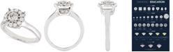 Macy's Certified Diamond (1 ct. t.w.) Halo Ring in 14k White Gold