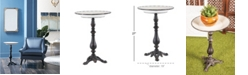 """Rosemary Lane Traditional 27"""" x 19"""" Round Iron and Wood Tray-Style Accent Table"""