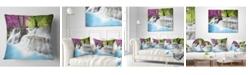 """Design Art Designart 'Erawan Waterfall' Photography Throw Pillow - 16"""" x 16"""""""