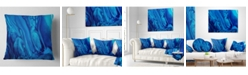 "Design Art Designart 'Dark Blue Abstract Acrylic Paint Mix' Abstract Throw Pillow - 16"" x 16"""