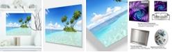 "Design Art Designart 'Corals Island Under Blue Sky' Seascape Metal Wall Art - 20"" X 12"""
