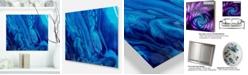 "Design Art Designart 'Dark Blue Abstract Acrylic Paint Mix' Abstract Art On Metal Wall Art Panel - 20"" X 12"""