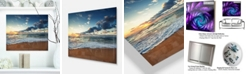"Design Art Designart 'Sunrise And Glowing Waves In Ocean' Seascape Metal Wall Art - 20"" X 12"""