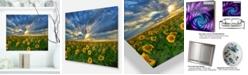 """Design Art Designart 'Beauty Sunset Over Sunflowers' Landscape Metal Wall Art - 20"""" X 12"""""""