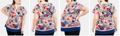 Motherhood Maternity Plus Size Printed Split-Neck Blouse