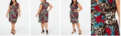 Connected Plus Size Printed Zip Wrap Dress
