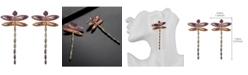 nOir Mutli-Colored Cubic Zirconia Dragon Fly Stud Earring