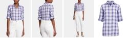 Lauren Ralph Lauren Petite Plaid Roll-Tab Button-Down Shirt