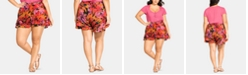 City Chic Plus Size Pull-On Ruffled Shorts