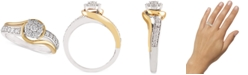 Macy's Two-Tone Diamond Cluster Bridal Ring (1/2 ct. t.w.) in 14k White Gold and 14k Gold