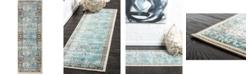 Bridgeport Home Linport Lin1 Ivory/Turquoise 2' x 6' Runner Area Rug
