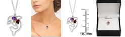 """Macy's Multi-Gemstone Dolphin 18"""" Pendant Necklace (3/8 ct. t.w.) in Sterling Silver"""