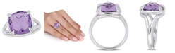 Macy's Amethyst (7-3/4 ct.t.w.) and White Topaz (1/20 ct.t.w.) Split Shank Cocktail Ring in Sterling Silver
