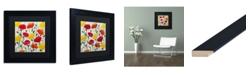 """Trademark Global Carrie Schmitt 'Cheerful Poppies' Matted Framed Art - 11"""" x 11"""""""