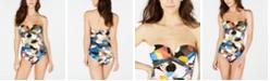 Calvin Klein Printed Strapless One-Piece Swimsuit