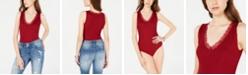Planet Gold Juniors' Rib-Knit Lace-Trimmed Bodysuit