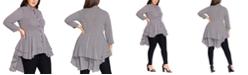 City Chic Trendy Plus Size Stripe Flutter Shirt