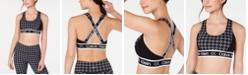 Calvin Klein Houndstooth Cross-Back Medium-Impact Sports Bra