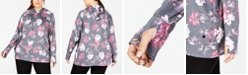 Ideology Plus Size Floral-Printed Lace-Up Hoodie, Created for Macy's