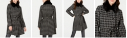 Via Spiga Houndstooth Belted Faux-Fur-Collar Coat