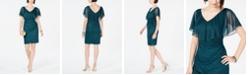 Connected Ruffle-Overlay Glitter Dress