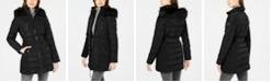 Nautica Belted Faux-Fur-Trim Hooded Puffer Coat