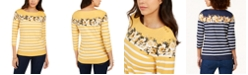 Charter Club Striped and Floral-Print Top, Created for Macy's