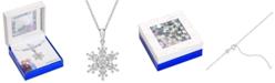 "Disney Cubic Zirconia Frozen Snowflake Pendant Necklace in Sterling Silver, 16"" + 2"" Extender"