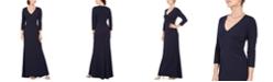 Jessica Howard V-Neck Rhinestone Stretch Gown