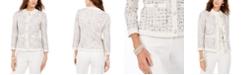 Anne Klein Collarless Tweed Jacket