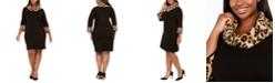 Jessica Howard Plus Size Animal-Print-Trim Shift Dress