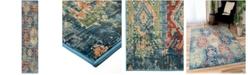 "Palmetto Living Alexandria Distressed Borego Medallion Light Blue 2'2"" x 8' Runner Rug"