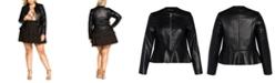 City Chic Trendy Plus Size Faux-Leather Peplum Jacket