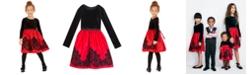 Rare Editions Little Girls Flocked Velvet Dress