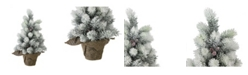 """Northlight 15"""" Flocked Mini Pine Christmas Tree with Berries in Burlap Covered Vase"""
