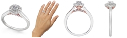 Macy's Diamond Halo Engagement Ring (1/2 ct. t.w.) in 14k White & Rose Gold