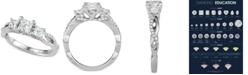 Macy's Diamond Princess Three-Stone Engagement Ring (1-3/8 ct. t.w.) in 14k White Gold