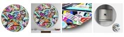 "Designart Peacock Love Shimmy Large Modern Wall Clock - 36"" x 28"" x 1"""