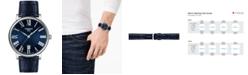 Tissot Men's Swiss Carson Premium Blue Leather Strap Watch 40mm