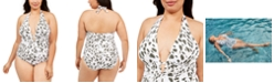 La Blanca Plus Size Brushstroke Petals Printed Halter One-Piece Swimsuit