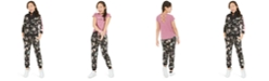 Ideology Big Girls Cross-Back T-Shirt, Floral-Print Track Jacket & Floral-Print Jogger Pants, Created For Macy's